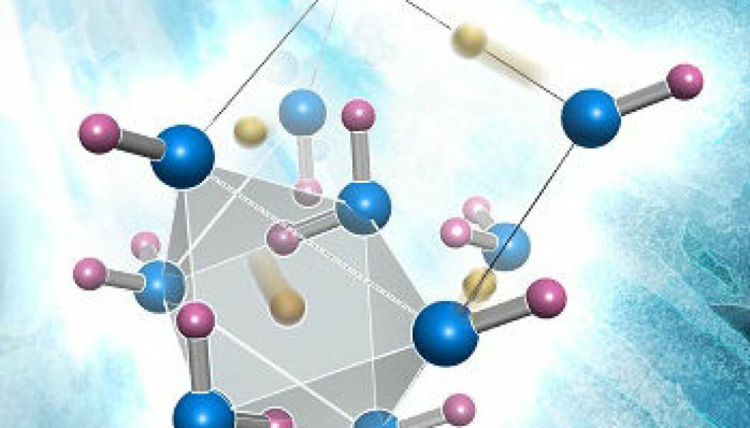 Strukturen i et iskrystall. Oksygenatomer er blå og hydrogenatomer er lyserøde. Frie hydrogenatomer er gullfargede. Tidligere trodde forskerne at disse bare fantes inne i den grå mangekanten, som på figuren. De nye resultatene viser at de kan være andre steder. Dette kan forklare at hydrogenatomene frigjøres ved lavere trykk enn antatt. (Figur: Oak Ridge National Laboratory)