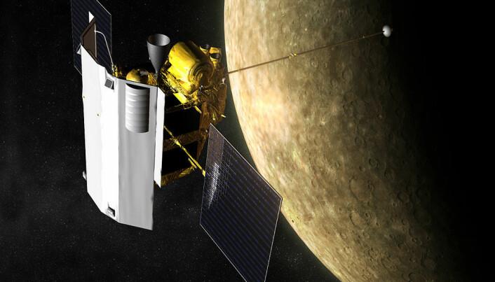 MESSENGER-sonden, slik en kunstner ser for seg at det så ut mens den gikk i bane rundt planeten.