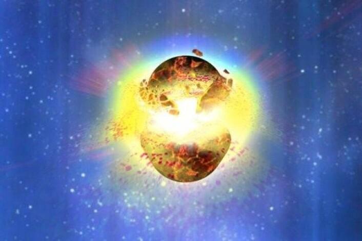 Sånn ser maler Dana Berry for seg at en kollisjon mellom to nøytronstjerner kan se ut. Nå tror forskere at dette kan ha skjedd - i vår galakse - for bare drøyt 1200 år siden. (Foto: NASA)