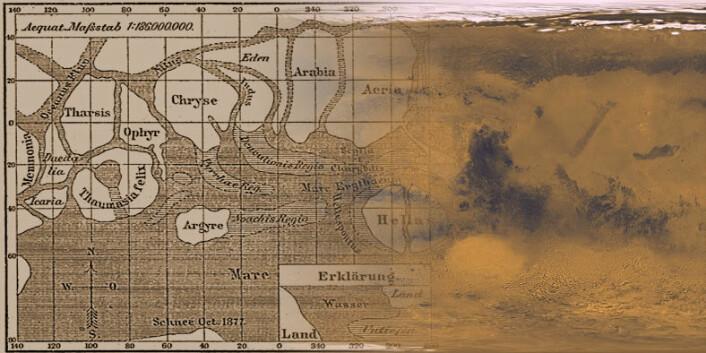 T.v: Marskart, tegnet av Schiaparelli i 1888. T.h: Marskart, laget ut fra fotografier fra romsonder. (Foto: (Bilde: Meyers Konversations-Lexikon/NASA))