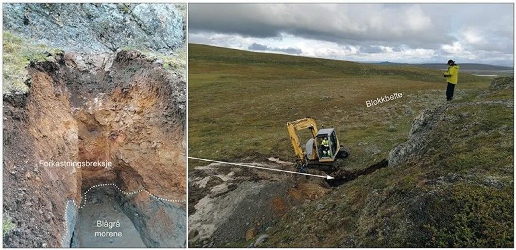 Bildet til venstre fra Stuoragurra-forkastningen, her like nordøst for Masi i Kautokeino. viser såkalt forkastningsbreksje, som her består av knust kvartsitt i et sammenpresset lag over eksisterende morenemateriale. Bildet til høyre viser steinblokker i et belte foran skrenten som er skapt av skjelv.