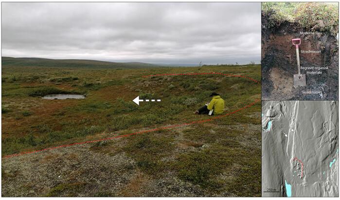 Kanten av et moreneskred i flatt terreng langs den sørligste delen av Stuoragurra-forkastningen. Bildet øverst til høyre viser lagene i skredmassene. Skredet har antageligvis skjedd under et større jordskjelv.