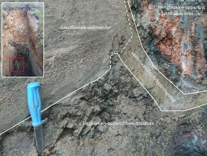 Bergartene er presset over hverandre. På grunn av bruddet etter jordskjelv (forkastning) er leire og andre deler av massene knust til fint forkastningsmel. Leirsonen, som i denne grøfta, gir god smurning når berggrunnen rører på seg.