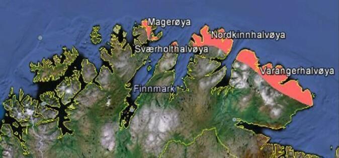 Kartet viser hvilke kystområder i Finnmark som ble klassifisert som en del av Arktisk sone E av en internasjonal ekspertgruppe.