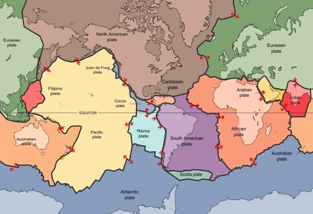 Gjennom å følge med på alle jordskjelv og vulkansk aktivitet på hele jorda, har forskere gjennom mange år klart å kartlegge grensen mellom platene. Nå kan forskere også måle platenes bevegelser direkte fra satellitter. Legg merke til kollisjonen mellom India-platen og Eurasia-platen som danner Himalaya – og tenk på det siste store jordskjelvet i Nepal i 2015. Kollisjonen mellom Afrika og Europa som dannet Alpene har stoppet opp – derfor er det ikke mange jordskjelv i Alpene. Legg også merke til hva som skjer langs hele midten av Atlanterhavet og under Island – der sprekker jordskorpen og det tyter opp lava. Den gigantiske og oseanske Stillehavsplaten sklir inn under naboplater på mange kanter. Dette skaper en «ring av ild» rundt Stillehavet med vulkaner og jordskjelv.