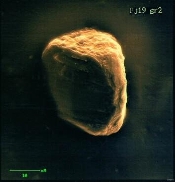 Denne 400 millioner år gamle mikrodiamanten fra Mørekysten kan avsløre for oss at Kaledonidene var veldig høye. Diamantene er så små at det ikke er mulig å se dem med det blotte øye. Du må bruke mikroskop.