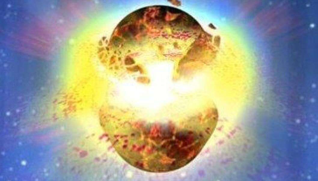 Sånn ser maler Dana Berry for seg at en kollisjon mellom to nøytronstjerner kan se ut. Nå tror forskere at dette kan ha skjedd - i vår galakse - for bare drøyt 1200 år siden. NASA