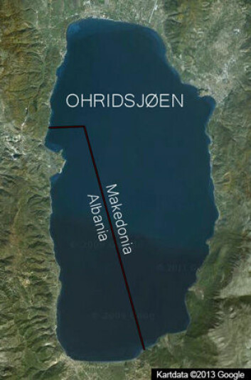 To tredeler av Ohridsjøen ligger i Makedonia, resten i Albania. (Foto: Google map)
