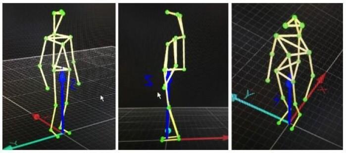 Slik kan det se ut når man bruker motion capture til å spore bevegelse. Her måles kroppens bevegelser ved hjelp av tjue markører.