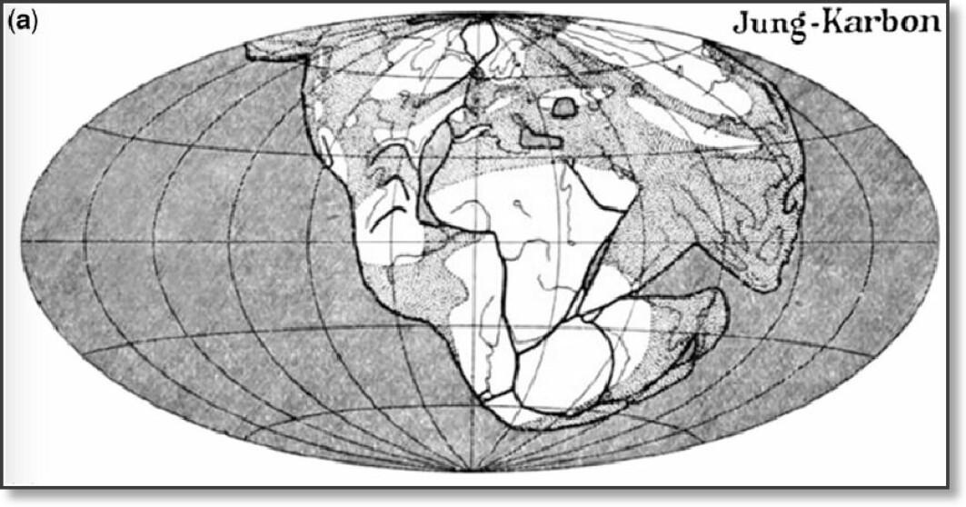 I 1929 skrev Alfred Wegener en forskningsartikkel som han illustrerte med dette bildet av hvordan kontinentene lå sammen for drøyt 400 millioner år siden. Da ble også fjellkjeden Kaledonidene dannet i sammenstøtet mellom Grønland og Norge, øverst på tegningen.