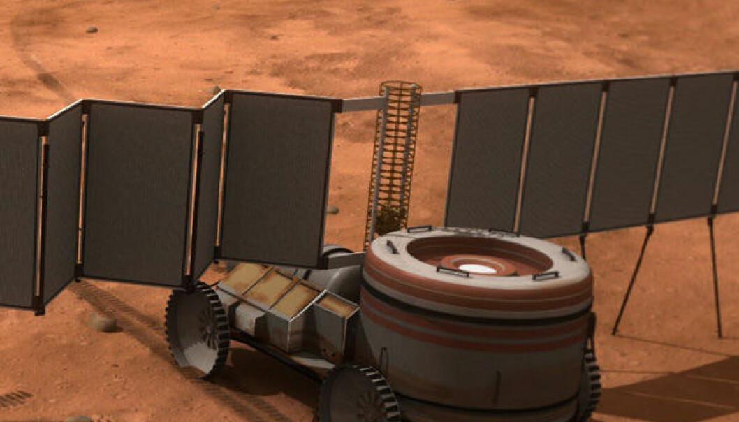 Atomkraftverk til bruk på Mars (Illustrasjon: NASA)
