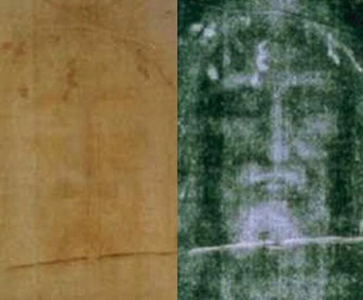 Til venstre: Ansiktet på likkledet i Torino, slik det egentlig ser ut. Til høyre: Ansiktet invertert, som et negativ, og kontraster forsterket. (Foto: (Bilde: Wikimedia Commons))