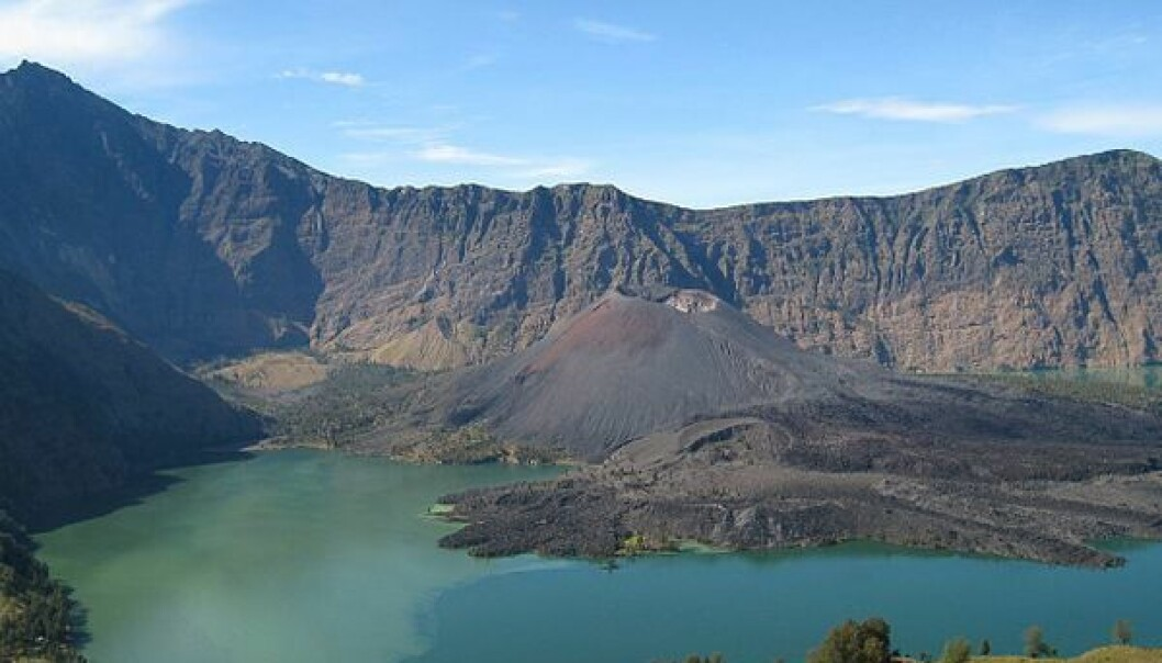 Utbruddet i 1257 danna det som i dag er kjent som kratersjøen Segara Anak. Petter Lindgren/Wikimedia commons