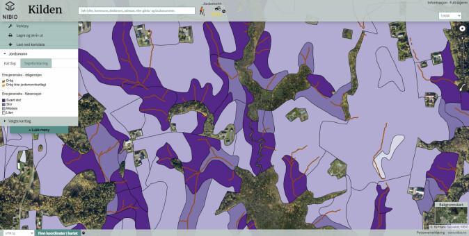 Flate- og drågerosjonskart fra Hortenområdet. Her er drågerosjonskartet lagt oppå flateerosjonskartet.