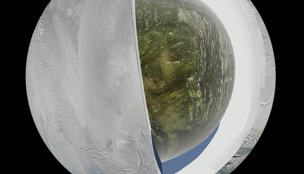 Slik kan Saturns måne Enceladus se ut inni, hvis de siste resultatene fra romsonden Cassini stemmer. Ved månens sydpol, der også kryovulkaner med sprut av blandt annet vann spruter ut, er et hav under 30 til 40 kilometer med is. NASA/JPL