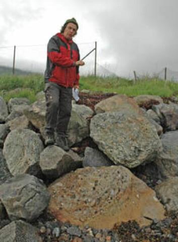 Børre Davidsen forteller i Sortlandsundet med avsetninger av sandstein som er 140-150 millioner år gamle, fra den gang Norge lå lengre sør og dinosaurer også fantes her. (Foto: Gudmund Løvø/NGU)