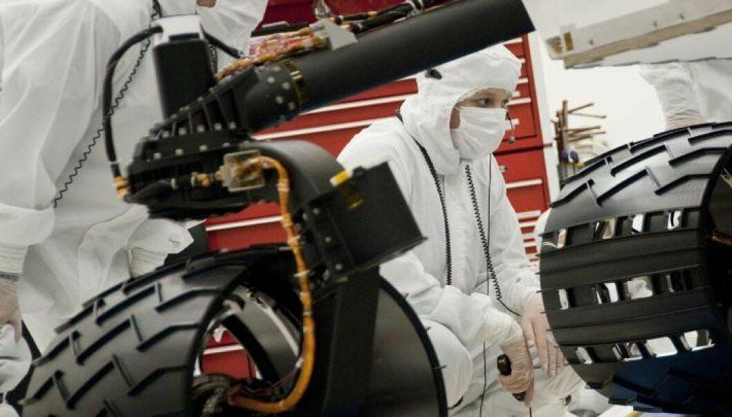 Disse hjulene skal snart rulle i sanden på Mars. NASA/JPL-Caltech
