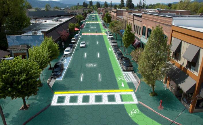 Simulering av hvordan en vei dekket med lysende oppmerking kan se ut. (Foto: (Grafikk: Sam Cornett/Solar Roadways))