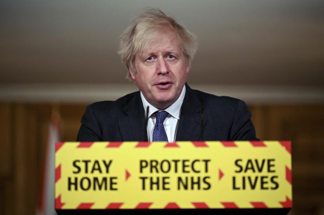 Storbritannias statsminister Boris Johnson snakket om det muterte koronaviruset da han møtte pressen før helgen.