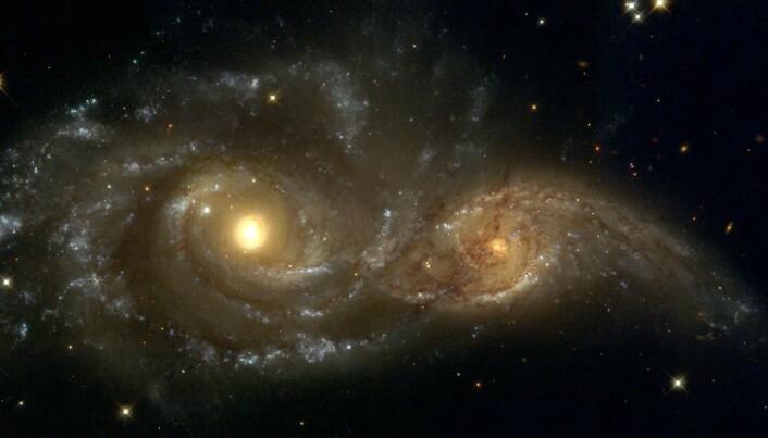 """Hubble teleskopet har tatt <a href=""""https://hubblesite.org/contents/media/images/2008/16/2332-Image.html?news=true"""" aria-label="""""""">flere bilder</a> av galakser i ferd med å krasje."""