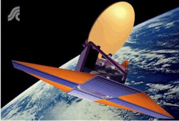 Satellitten Odin ble utviklet av svenskene, og sendt ut for å observere fjerne stjerner i samarbeid med tre andre land. (Foto: (Bilde: Rymdstyrelsen))