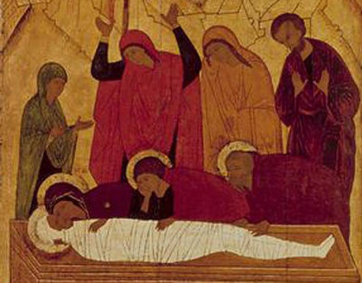 (Foto: (Maleri: Ukjent kunstner: Gravleggelsen av Jesus, russisk ikon, Tretiakovgalleriet, Moskva.))