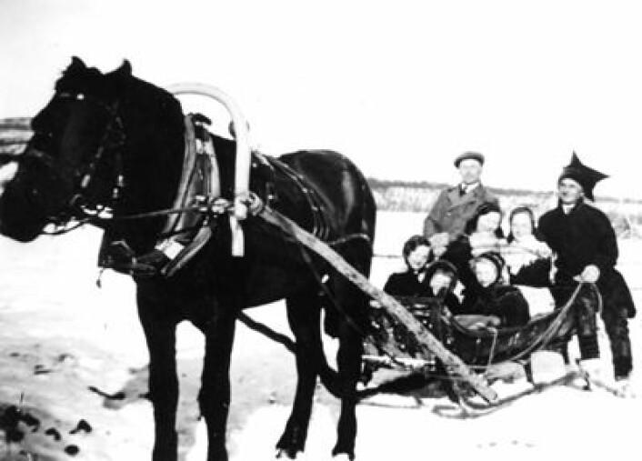 Kvenar i Nord-Noreg: Assimilasjon var den rådande politikken overfor minoritetar i Noreg heilt fram til etter andre verdskrig. Her ser vi kvenar som reiser med hesteskyss i Børselv, Porsanger, truleg i 1930-åra. (Foto: Alvilde Nilsen, Porsanger museum)