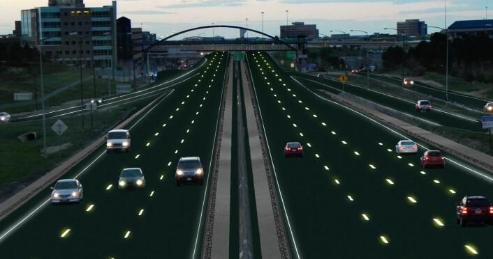Veimerkingen er dynamisk, og kan skifte etter behov. Hvis et felt må stenges, kunne for eksempel røde merker i veibanen indikere dette. (Foto: (Illustrasjon: Sam Cornett/Solar Roadways))