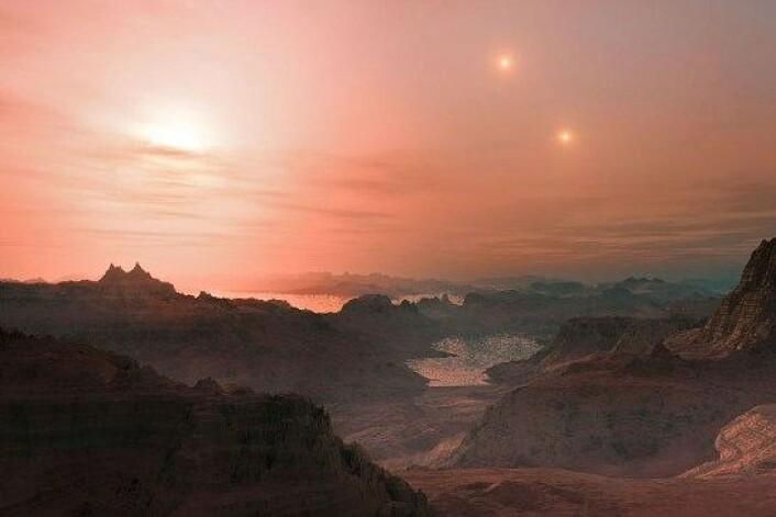 En kunstners tolkning av solnedgangen på Gliese 667Cc. (Foto: European Southern Observatory (ESO))