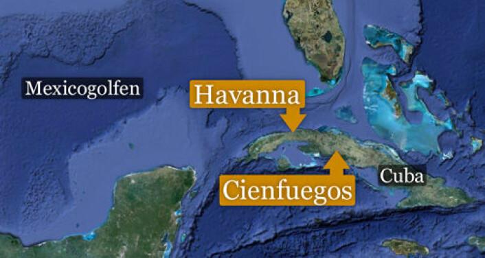 Forskerne har brukt nasjonale data fra Cuba og detaljerte helseundersøkelser fra provinsbyen Cienfuegos. (Foto: (Kart: Google Maps/tilpasset forskning.no/Per Byhring))