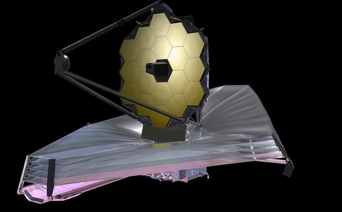 Grafikk som viser James Webb-teleskopet. Det er rundt 20 meter langt.
