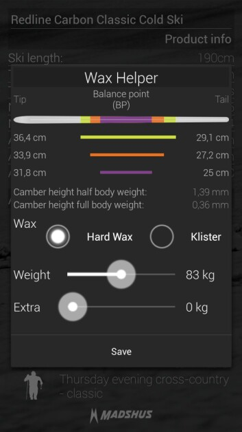 Den nye SmartSki-appen gir selv hobbyskiløpere muligheten til å finne den perfekte smøresone på skiene sine. (Foto: Madshus)