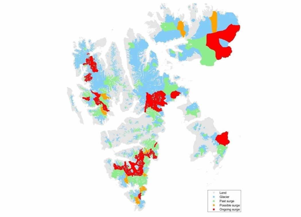 De røde områdene viser isbreer på Svalbard som nå opplever det spesielle fenomenet surge.