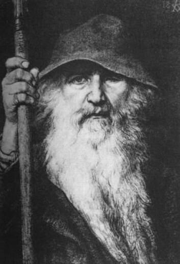 Den nordiske guden Odin er blitt portrettert på mange ulike måter gjennom historien. Ofte som kriger på hesterygg. Her er han imidlertid som vandringsmann. (Foto: (Tegning: Georg von Rosen, 1886/Wikipedia Commons))