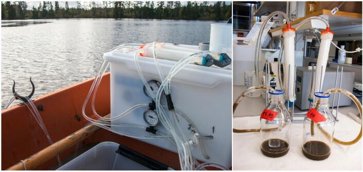 Ultrafiltrering av vann fra båt (a) og tømming av ultrafilter på laboratoriet. I det brune konsentratet fra 100 L innsjøvann kan molekylære metoder benyttes til å påvise og kvantifisere A. astaci sporer. (Foto: David Strand)