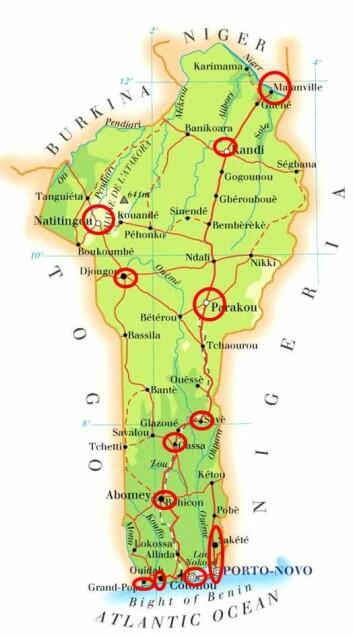 Kartet viser prøveområdene med urban grønnsakproduksjon i Benin. (Foto: (Kart: Bioforsk))