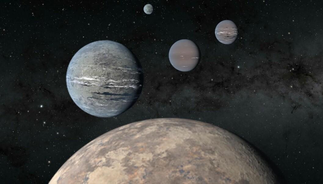 Slik ser forskerne for seg planetene rundt den fremmede stjernen TOI-1233. Nå er de blitt fem! Foran ser du steinplaneten og de tre Neptun-lignende planetene som elevene og forskerne først oppdaget. Lengst unna ligger enda en planet, som ble oppdaget etterpå.
