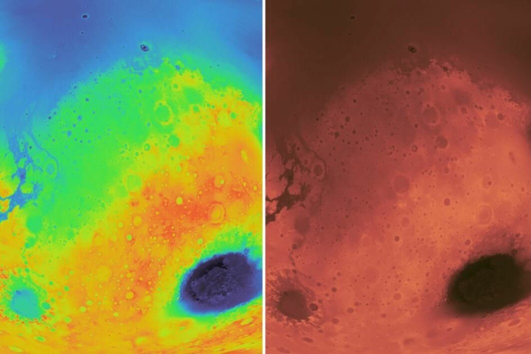 The topography of Mars. To the left using a rainbow colour map, to the right a scientific colour map.