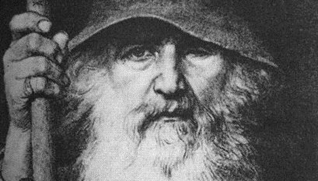 Den nordiske guden Odin er blitt portrettert på mange ulike måter gjennom historien. Ofte som kriger på hesterygg. Her er han imidlertid som vandringsmann. (Tegning: Georg von Rosen, 1886) (Tegning: Georg von Rosen, 1886/Wikipedia Commons)