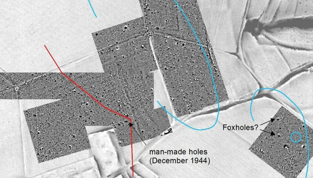 Et utdrag av oversikten av slagmarken, laget av forskerne. De mørkere feltene er undersøkt med instrumenter som finner former og gjenstander under bakken.