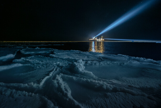 "RV ""Helmer Hanssen"" in the polar night."