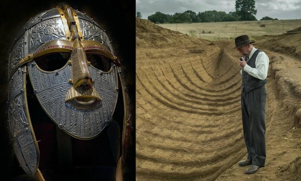 En kopi av Sutton Hoo-hjelmen og en scene fra Netflix-filmen «The Dig» med skuespilleren Ralph Fiennes i hovedrollen som den lokale amatørarkeologen Basil Brown under utgravingen i 1939.
