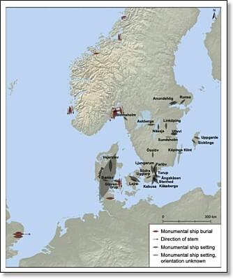 Kartet viser monumentale graver og steinsettinger med form som skip. Lengden på figurene angir størrelsen på monumentene. Jellingskipet i Danmark er klart størst.