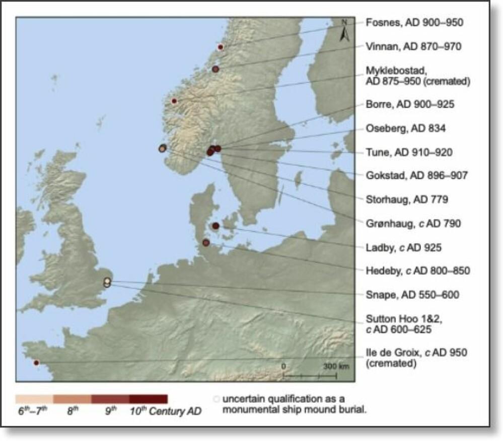 Kartet viser skip vi helt sikkert vet at er blitt begravd i monumentale skipshauger. De fleste er i Norge. Det nyoppdagede Gjellestadskipet i Østfold er ikke med på kartet. Trolig finnes det flere slike skip.