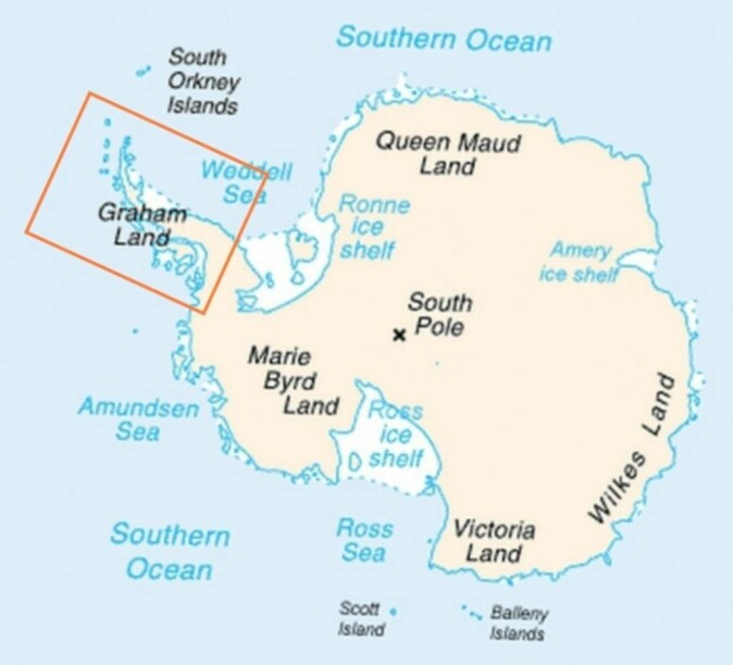 Antarktishalvøya merket med en firkant.