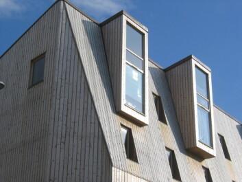 Femetasjes bygård i massivt tre fra Svartlamoen i Trondheim ble oppført i 2005. Bygningen er antagelig verdens høyeste hus oppført i massivt tre. (Foto: Lone Ross Gobakken / Skog og landskap)
