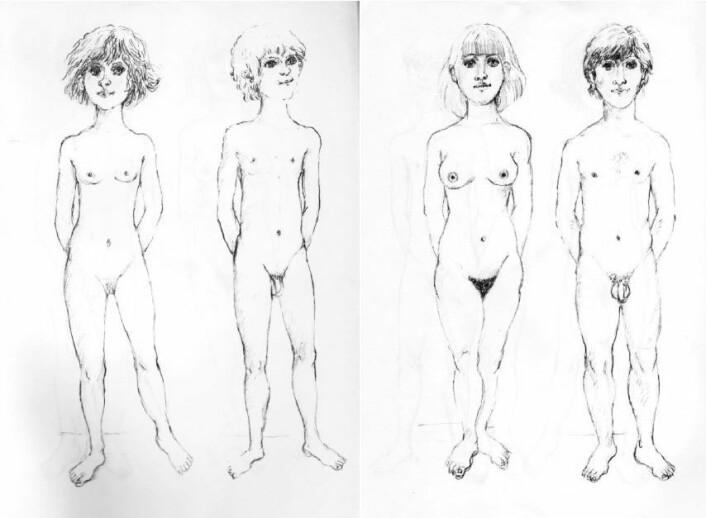 Bilder fra veiledningen om seksualundervisning fra 1984. Anatomi er mindre viktig, relasjoner og samliv står i fokus. (Foto: (Illustrasjon: Oslo skolemuseum))