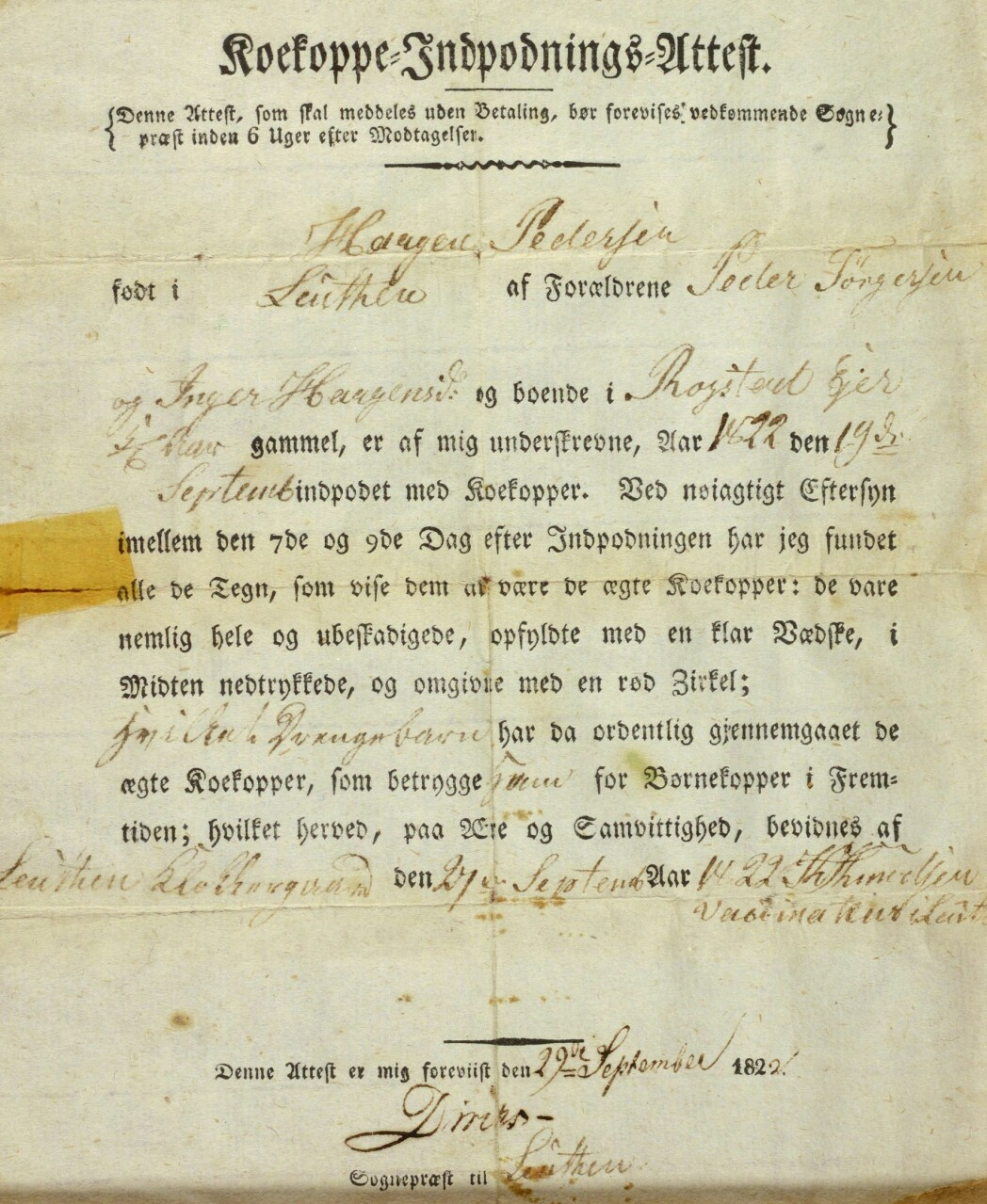 Sognepresten i Løten underskrev attesten som viste at Haagen Pedersen hadde blitt vaksinert med kukopper i 1822.