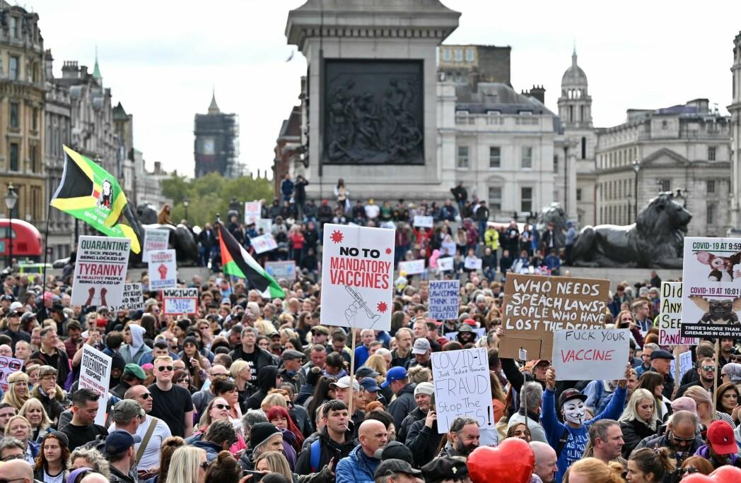 Demonstrasjoner mot koronavaksinen og strenge smittevernstiltak i London, september 2020.