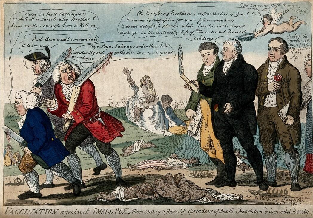 Vaksinenes far, Edward Jenner, og to kollegaer jager bort tre vaksinemotstandere mens barn som har dødd av kopper ligger strødd, i denne illustrasjonen fra 1808.